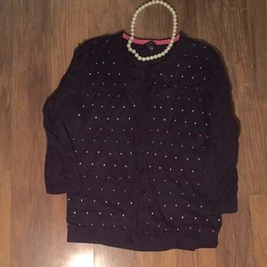 Large L polka dot navy pastel Talbots cardigan